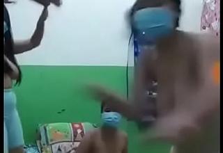 Asian hostel girls sliding nude in group for the thrilling fun sake