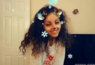 Christmas Snapchat teen gives best deepthroat blowjob with massive spunk flow swallow tiktok hot shots POV Indian