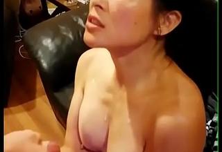 Chinese American Nurturer Taking Huge Cumshot From Big White Dick