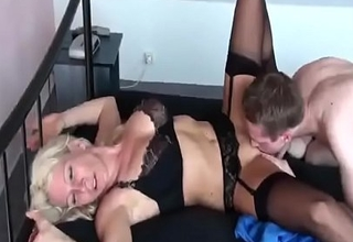 Hot German Milf fucks her Young Boy for the first Seniority