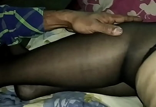 Indian Wife Moja Bhabhi in lingerie nylons coupled with stiletto heels gets stroked coupled with groped wide of a stranger - nylons blue self-assertive heels triad mfm mmf Bengali cwmjbst
