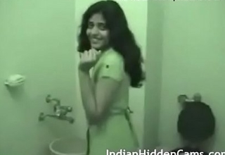 indian girl in bathroom
