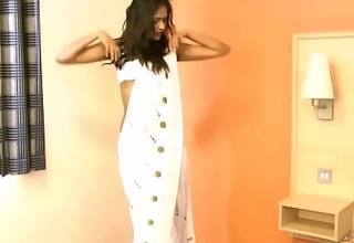 Gujarati Indian College Girl Divya In White Nub Sari Striptease Show